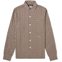 Olaf Hussein Flannel Check Overshirt Brown