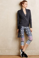 Anthropologie Ukiyo Cropped Leggings Blue Motif