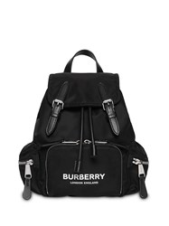 Burberry The Small Rucksack In Logo Print Nylon Black