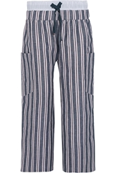 Suno Striped Woven Linen And Cotton Blend Wide Leg Pants
