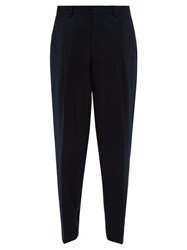 E. Tautz Pleated Wide Leg Wool Twill Trousers Navy