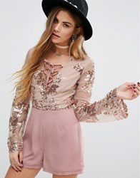 Young Bohemians Playsuit With Delicate Floral Sequin Dusty Pink