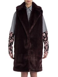 Msgm Long Faux Fur Vest Bordeaux