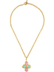 Chanel Vintage Gripoix Clover Necklace Metallic