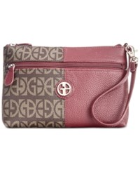 Giani Bernini Block Signature Patchwork Wristlet Created For Macy's Oxblood Brown