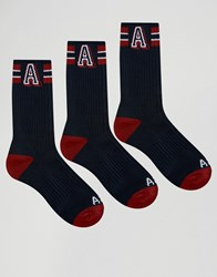 Abercrombie And Fitch 3 Pack Socks Navy