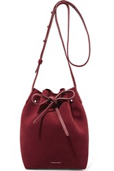 Mansur Gavriel Mini Suede Bucket Bag Burgundy