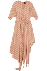 Loewe Paula's Ibiza Belted Striped Cotton Gauze Midi Dress Beige
