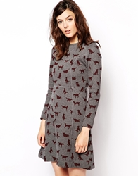 Orla Kiely Sweatshirt Dress In Puppy Love Print Greymelange