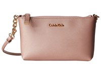 Calvin Klein Saffiano Crossbody Rose Gold Cross Body Handbags