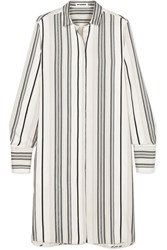 Jil Sander Embroidered Striped Grain De Poudre Silk Shirt White