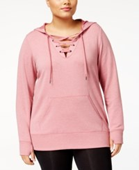 Ideology Plus Size Lace Up Hoodie Created For Macy's Dusty Rose Heather