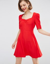 Asos Woven 3 4 Sleeve Tea Dress With Sweetheart Neckline Red