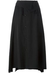 Y's Fold Over Asymmetric Skirt Black