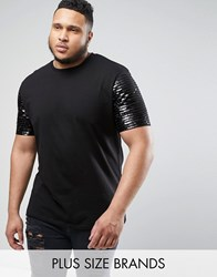 Asos Plus Longline T Shirt With Sequin Sleeves Black White