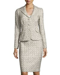 Kay Unger New York Tweed Jacket And Skirt Suit Set Beige