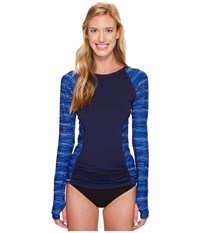 Tyr Cyprus Aria Long Sleeve Rashguard Navy Royal Women's Swimwear Blue