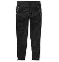 Alexander Mcqueen Slim Fit Tapered Panelled Cotton Twill Trousers Black
