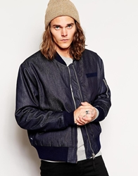 Cheap Monday Denim Bomber Jacket Blue