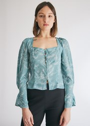 Farrow Claire Printed Top In Sage Size Small Silk