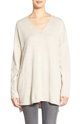 Eileen Fisher Organic Cotton Knit V Neck Tunic Maple Oat
