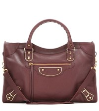 Balenciaga Classic Metallic Edge City Leather Tote Red