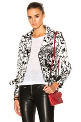 Saint Laurent Special Artiste Project Motorcycle Jacket In Black White Abstract Black White Abstract