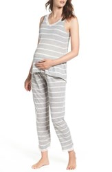 Belabumbum Women's Maternity Nursing Tank Pajamas Grey Stripe