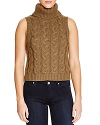J.O.A. Sleeveless Turtleneck Cable Knit Top Compare At 75 Olive