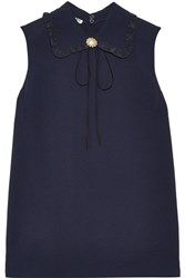 Miu Miu Embellished Ruffled Silk Trimmed Crepe Top Navy