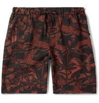 Desmond And Dempsey Hercules Printed Cotton Pyjama Shorts Orange