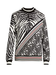 Dolce And Gabbana Zebra Print Cotton Sweatshirt Black Multi