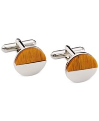 Geoffrey Beene Circle Cufflinks Silver Tigers Eye