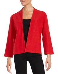 Anne Klein Open Front Wool Blend Cardigan Vibrant Red