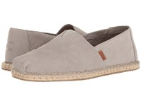 Toms Seasonal Classics Drizzle Grey Suede Blanket Stitch Men's Slip On Shoes Gray