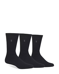 Polo Ralph Lauren Assorted Cushioned Crew Socks Pack Of 3 Black
