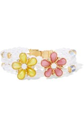 Ben Amun Gold Plated Beaded Resin And Crystal Bracelet White