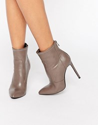 Public Desire Maddie Heeled Ankle Boots Taupe Pu Grey