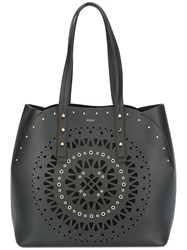 Furla Geometric Pattern Studded Tote Black
