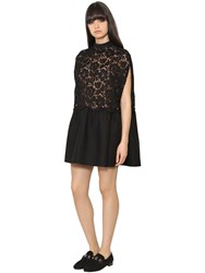Valentino Crepe And Heavy Lace Dress
