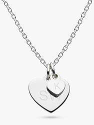 Kit Heath Personalised Girls Double Heart Pendant Necklace Silver