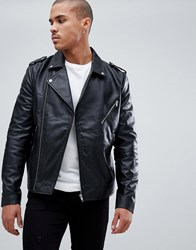 Bellfield Leather Aviator Jacket With Borg Lining Black