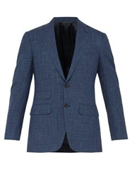 Thom Sweeney Single Breasted Checked Wool Blend Suit Jacket Blue