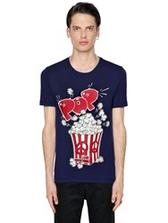 Love Moschino Pop Corn Printed Cotton Jersey T Shirt