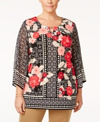 Jm Collection Plus Size Printed Keyhole Top Only At Macy's Floral Fusion