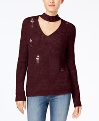 Almost Famous Juniors' Ripped Choker Sweater Red Wine