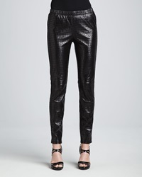 Neiman Marcus Croc Embossed Leather Leggings X Large 16