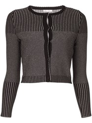 Oscar De La Renta Striped Cardigan 60
