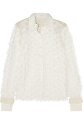 See By Chloe Crochet Paneled Fil Coupe Cotton Shirt White