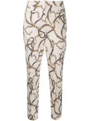 Cambio Chain Print Slim Fit Trousers Neutrals